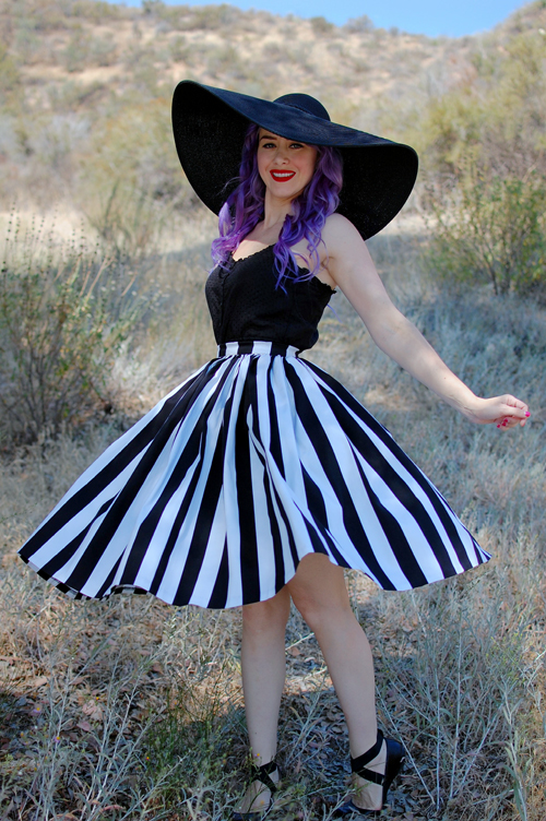 Pinup Girl Clothing Jenny skirt in black and white stripe