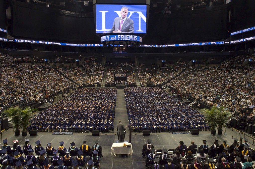Mayor Bill De Blasio Delivers Remarks And Attends The Grad