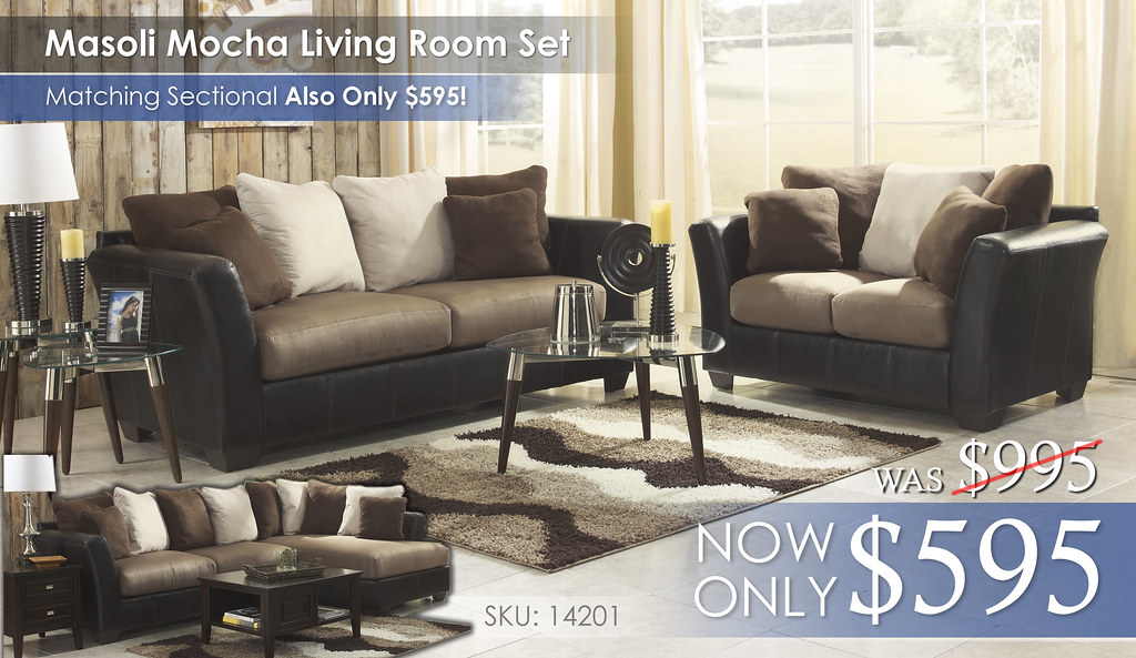 Masoli Mocha Living Set or Sectional 14201