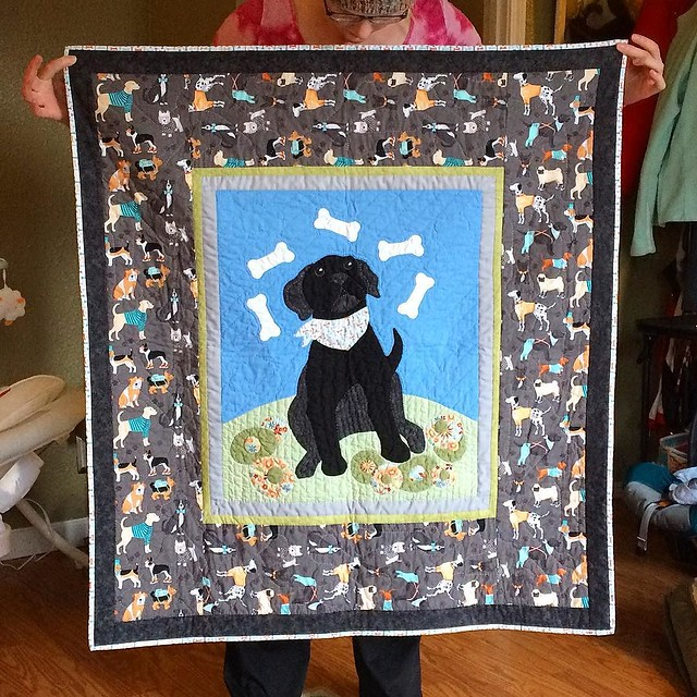 Baby M.'s doggy quilt by Grandma Fleeta is complete! So sweet.