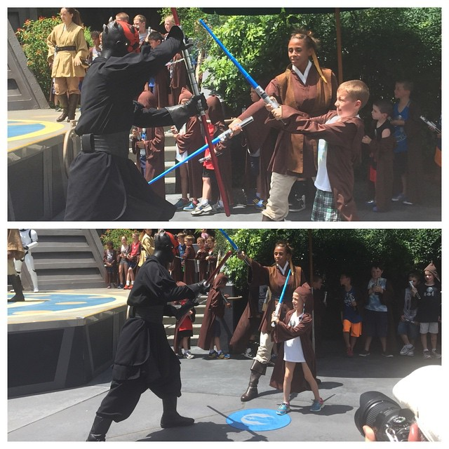 Both kids finished their Jedi Training and got to fight Darth Maul! So proud of Autumn, brave girl! #Disney #starwars #hollywoodstudios