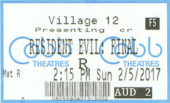 Resident Evil: The Final Chapter ticketstub