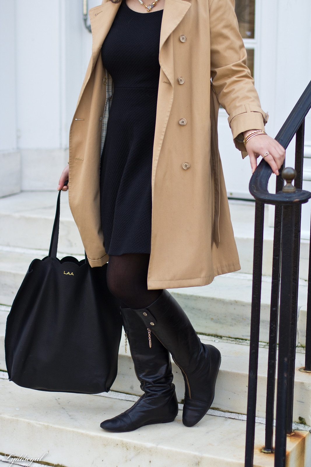 trench coat, little black dress, boots, matine tilly tote-7.jpg