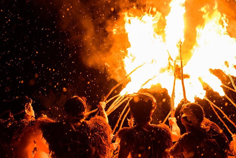 007 Traditional ritual ceremony of snow and fire in the village in the mountains,Otari,NAGANO 2017