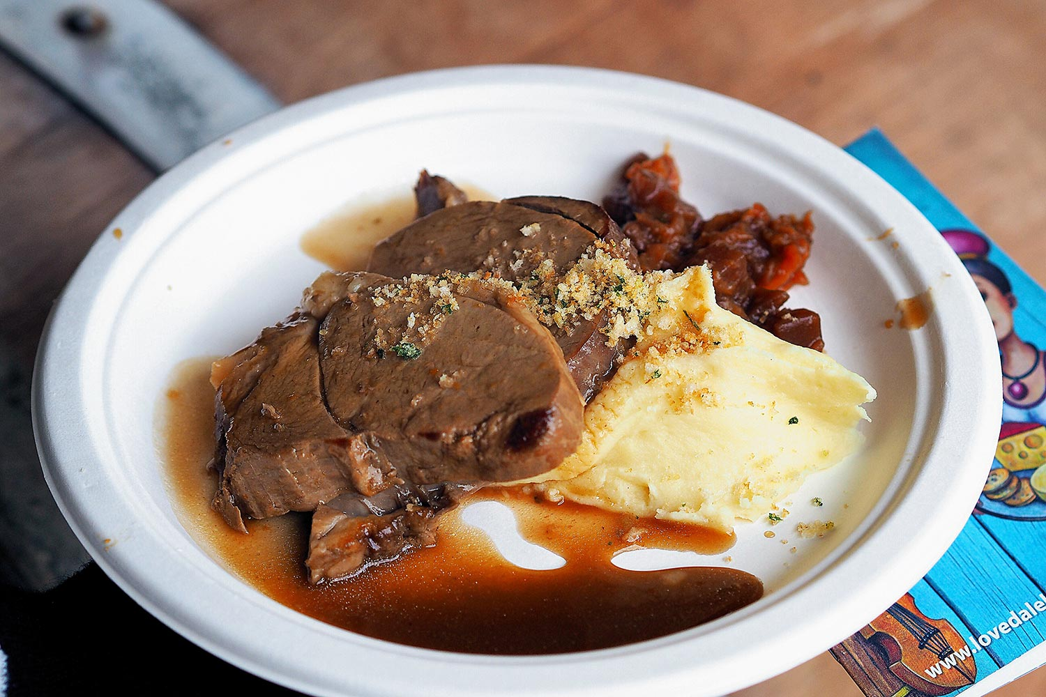 Review of Lovedale Long Lunch: Braised Wagyu Beef with Truffle Mash, Apple, and Beetroot Relish from Saltire Estate Catering