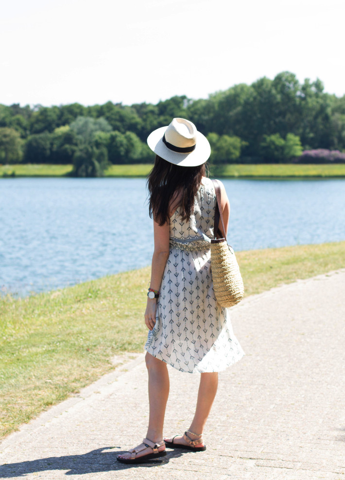 outfit: geometric print sundress, Teva sandals, panama hat, straw bag