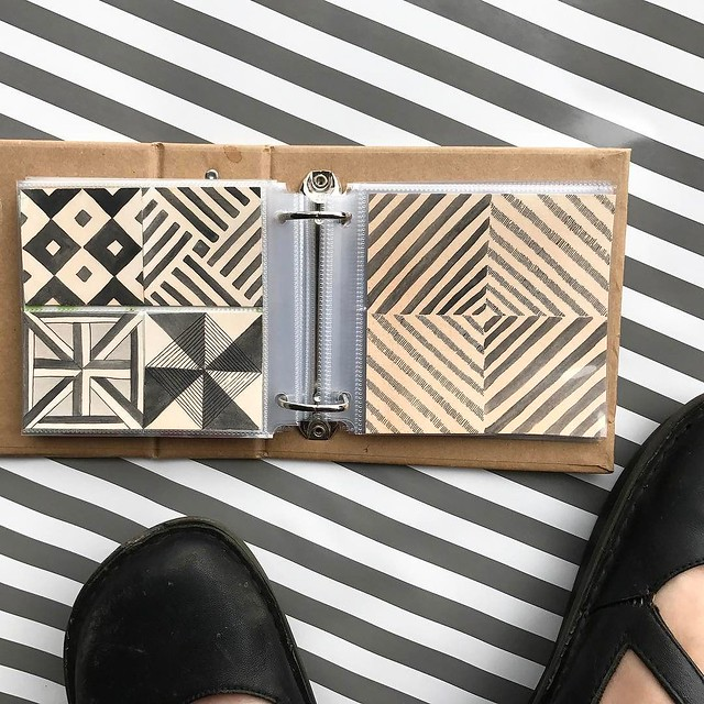 Happy Friday the 13th! I'm playing catch up this morning. Here is my #patternjanuary for #tile, a return to this #littleartbook after it recently returned to me from a long journey away. My dream floor tile is bold, graphic, and black and off white. #roba