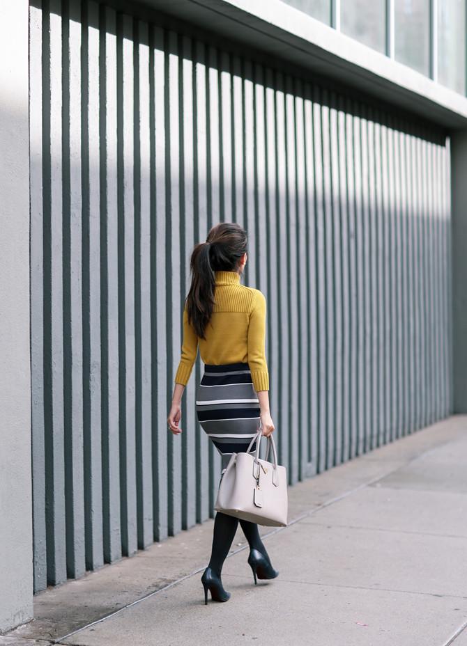 striped sweater skirt ann taylor petites office fashion