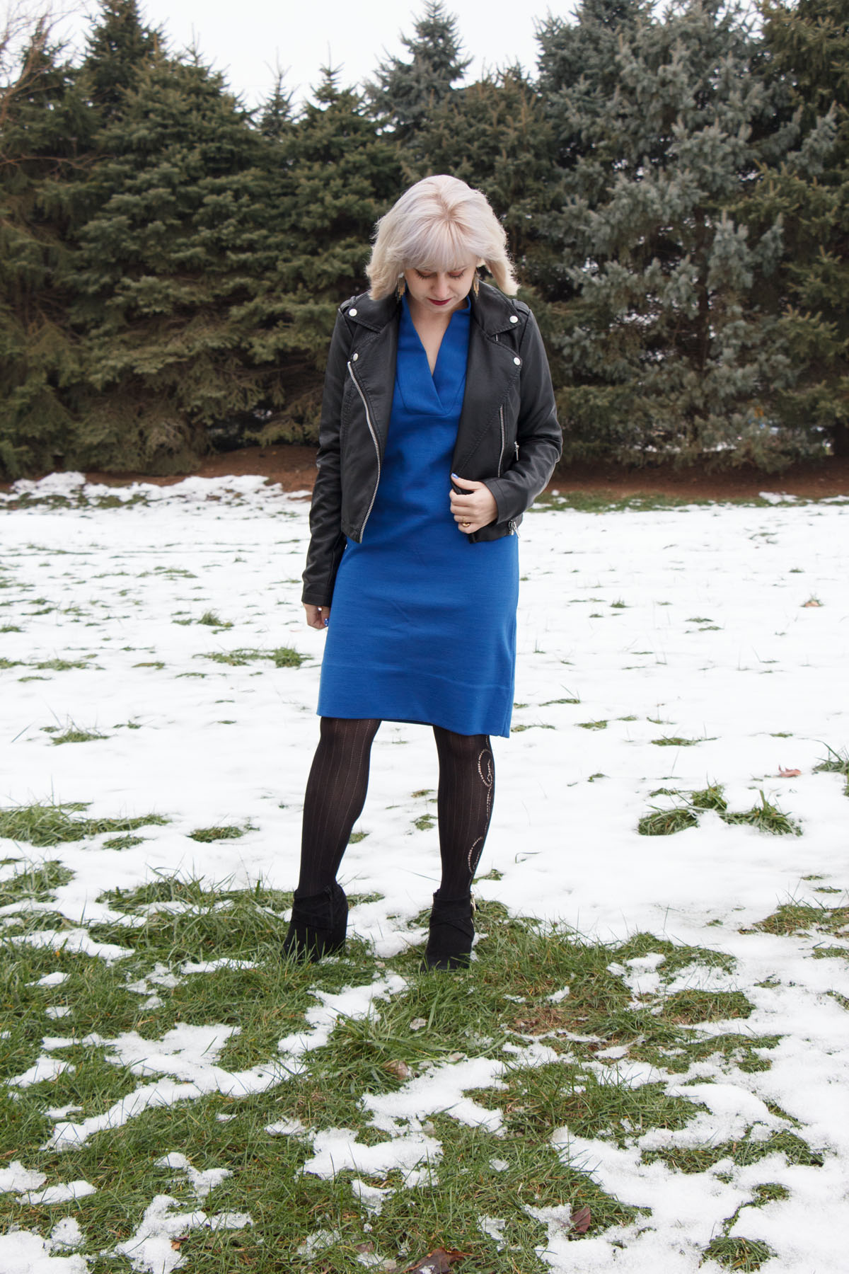 Ice Blonde Hair, Faux Leather Coat, Blue Shift Dress, and Wedge Boots