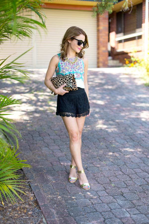 Crop Top + Crochet Shorts