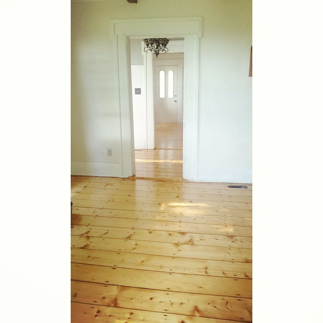 Got up while the house slept to air out this side of the house and give it a good scrub down, expecting loads of sawdust everywhere but our floor guy cleaned up so well after he was finished! #floors #plank #ahannahandseanproject #oldhouse #oldhouselove #