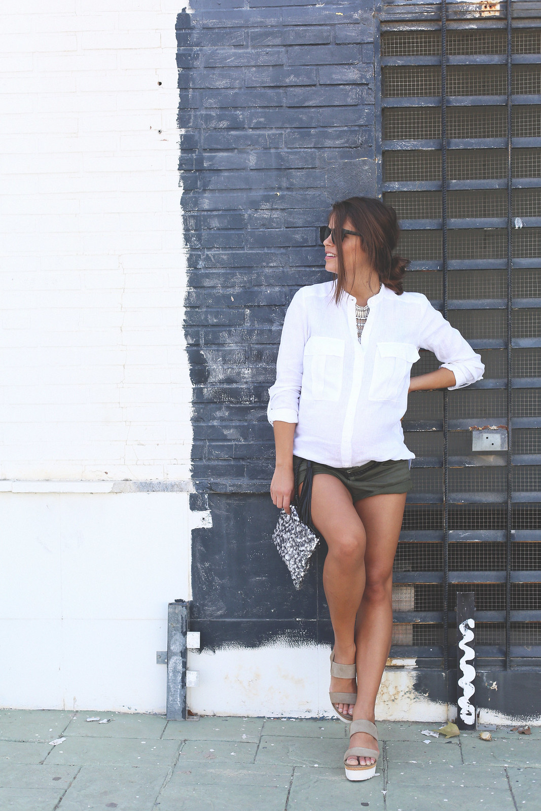 10. white linen shirt khaki shorts wedges shoes - jessie chanes - pregnancy