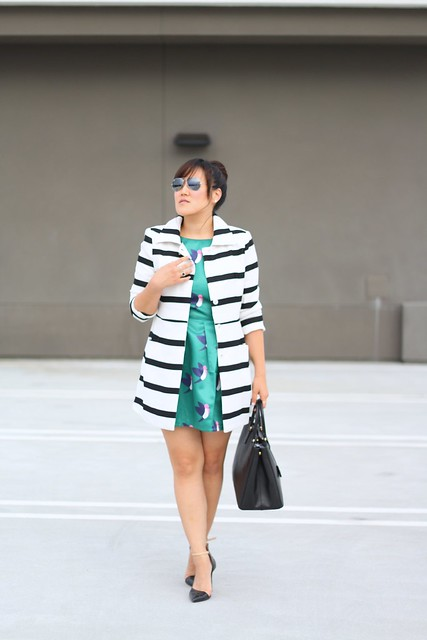 simplyxclassic, choies, black and white striped coat, striped coat, bird print dress, pattern mixing, mommy blogger, mom blog, fashion blogger, style blog, ootd