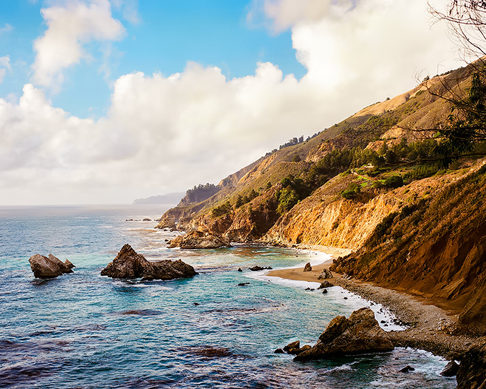 © 2016. View from McWay Falls trail in Julia Pfeiffer Burns State Park in Big Sur, Monterey County, California. Sunday, Oct. 30, 2016. Portra 160+1, Pentax 6x7.