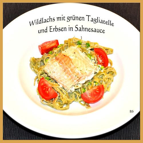 Chefköchin Karla Kunstwadl überrascht mit Wildlachs, grünen Tagliatelle und Erbsen in Kräuter-Sahne-Sauce ... Foto: Brigitte Stolle, Mannheim