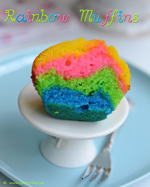 Eggless rainbow muffin recipe
