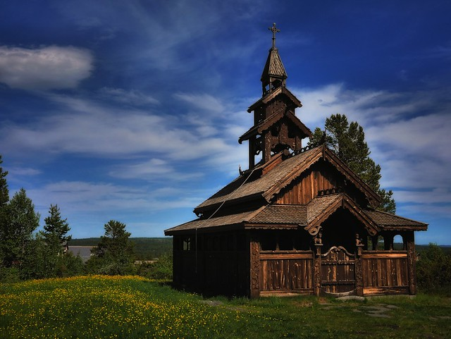 The little StaveChurch in the mountains. Golsfjellet, Norway