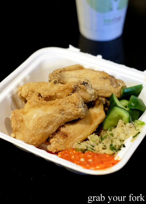 Hainan hot wings with chilli sauce and ginger from Yang's Malaysian Food Truck in Sydney