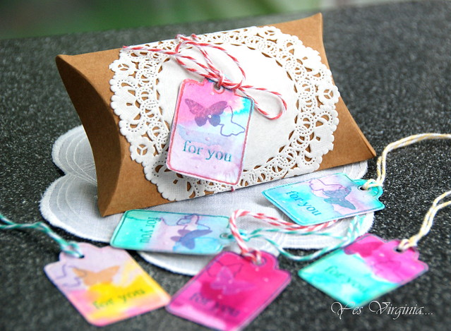 doily wrapped pillow box w. watercolor tags