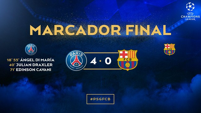 Champions League - Octavos de Final (Ida): Paris Saint-Germain 4 - FC Barcelona 0
