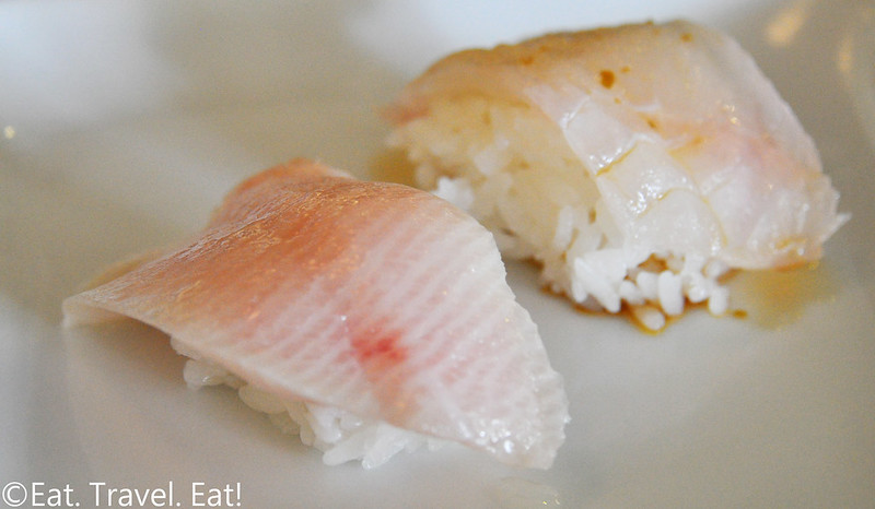 Sugarfish by Sushi Nozawa (Waterside)- Marina Del Rey, CA: Trust Me- Yellowtail and Halibut Nigiri
