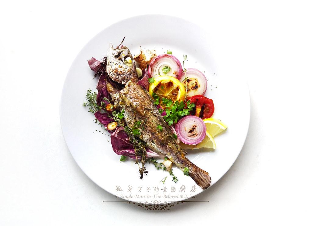孤身廚房-地中海風味烤黑喉魚佐鑄鐵烤盤烤蔬菜12