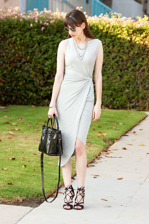 Grey Midi Dress, Happiness Boutique Necklace, Ifchic Bag