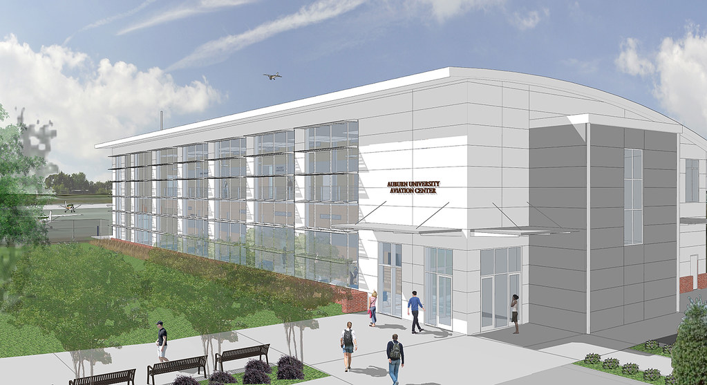 An artist's rendering of the new aviation building at the airport.