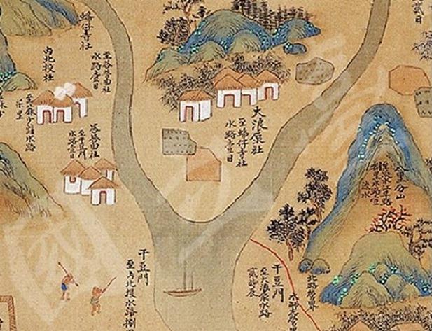 1704年,皇輿全覽圖的大浪泵社附近關係圖,社子島為兩河交匯之沙洲,乃天然低窪易...