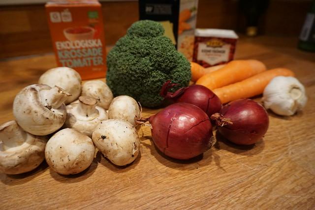 Vegetarisk lasagne alá vad som finns i kylskåpet - ingredienser