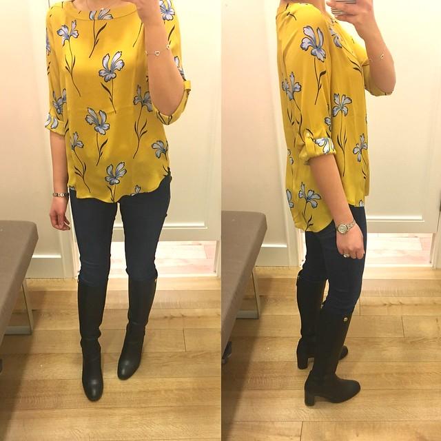 LOFT Lily Tab Sleeve Blouse, size XSP