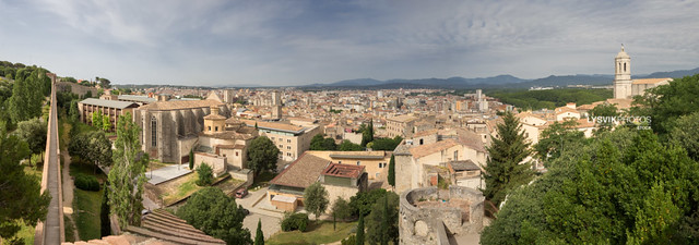 XXL Panorama Girona with some famous landmarks