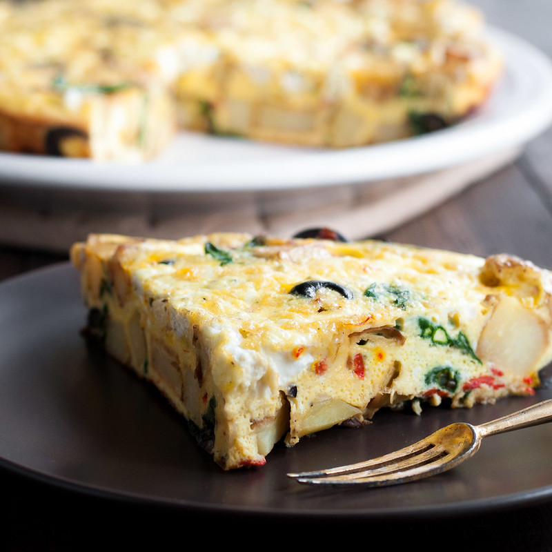 Make ahead Spanish potato frittata with 3 cheeses and easy pantry staples (gluten-free/vegetarian)
