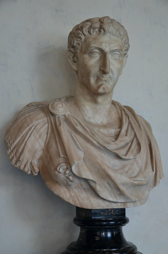 bust of emperor nerva in lorica military cloak and paludam