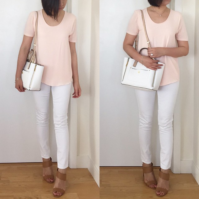 LOFT Fluid Tee in icy peach outfit
