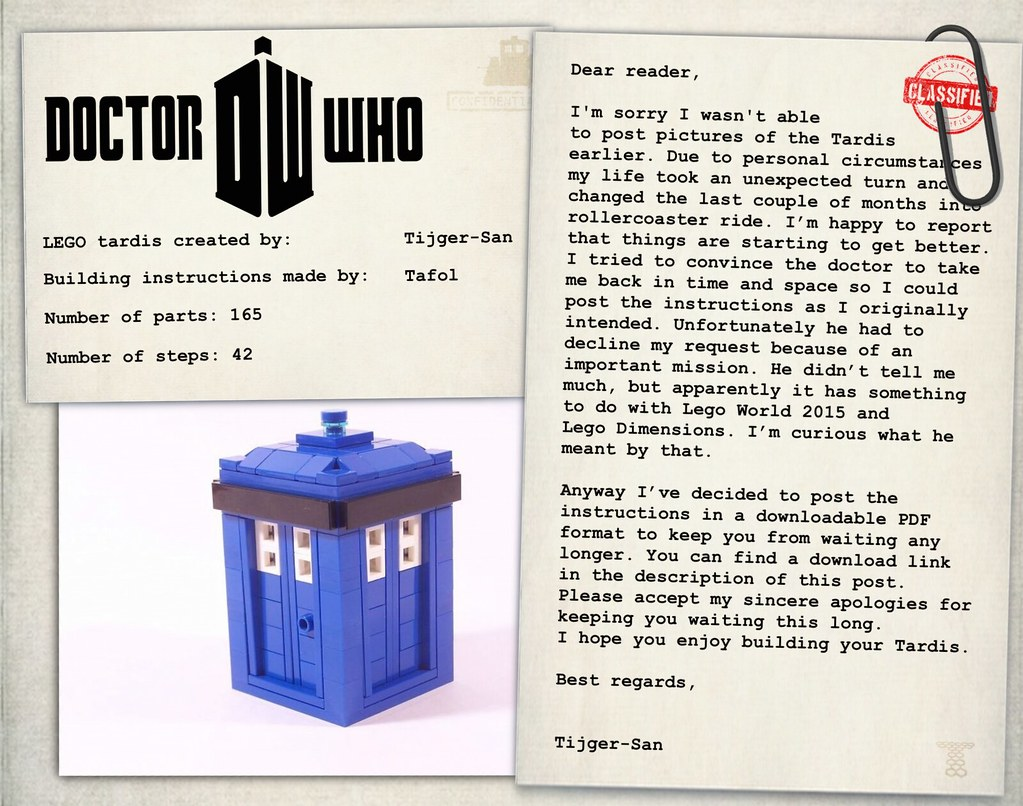 Lego Tardis Instructions Download Im Sorry I Wasnt Able Flickr