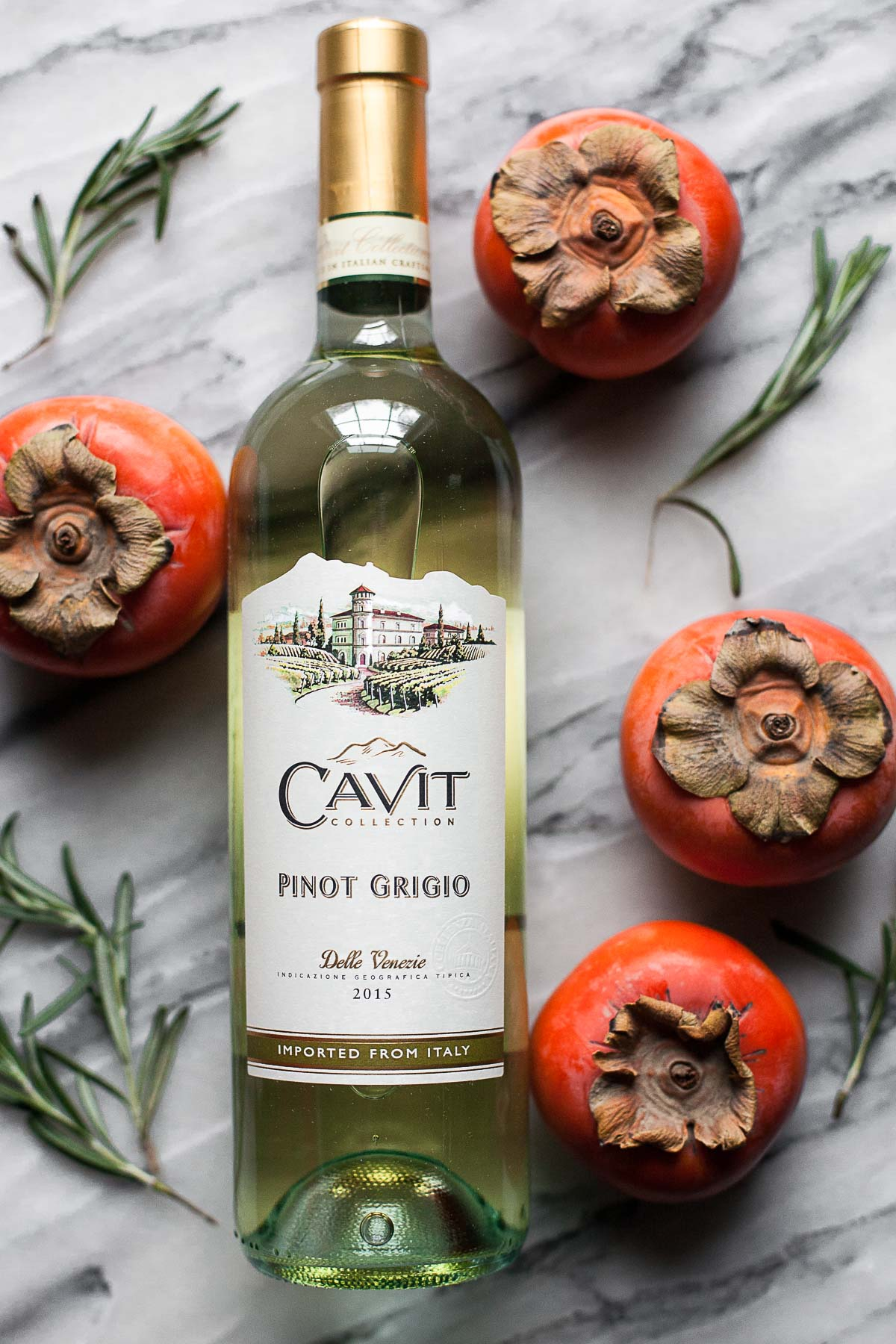 Cavit Pinot Grigio pairs well with Persimmon Bacon Bites with Rosemary Goat Cheese