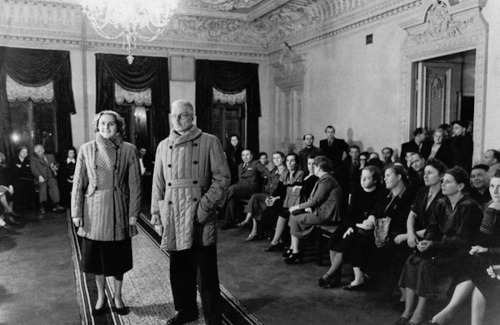 Fashion show for agricultural workers and military guards. USSR. 1953