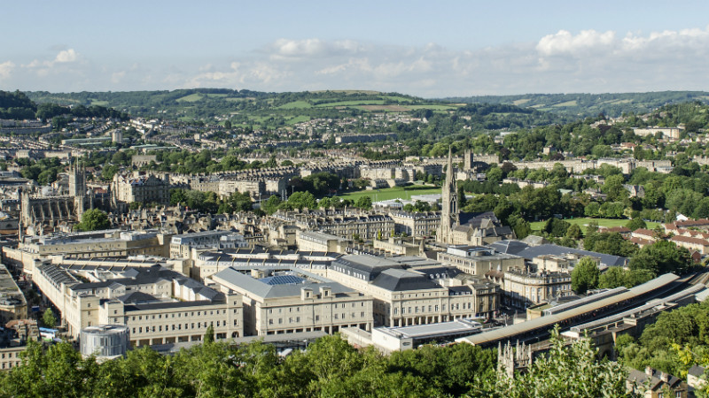 The city of Bath skyline