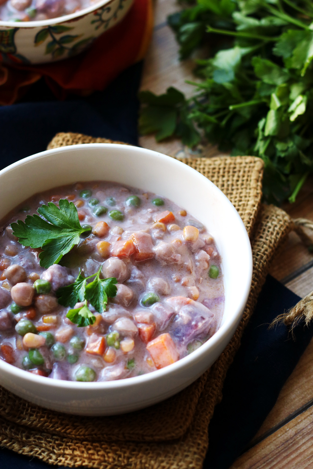 Purple Sweet Potato and Chickpea Pot Pie Soup with Rosemary Biscuits