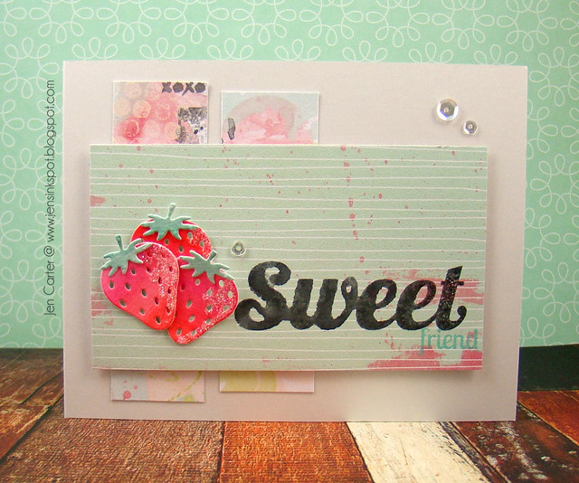 Jen Carter Watercolored Strawberries Card