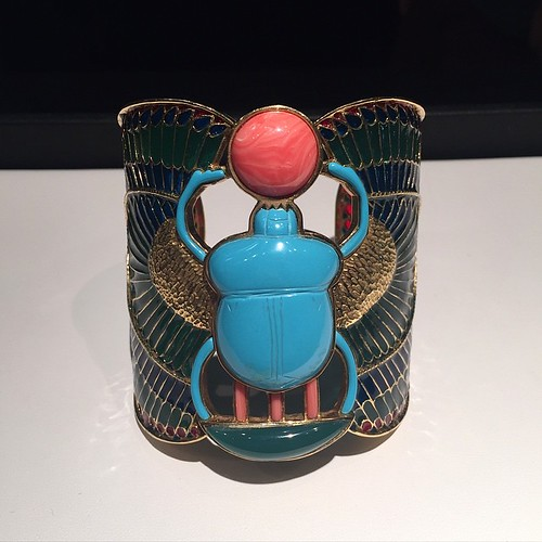 Ok, so I know I always pick my favorite piece out of the entire show each year--here's this year's winner: 18k yellow gold plique-à-jour turquoise scarab cuff! This piece is not antique, but vintage and was made by a Florida man who recently passed away.