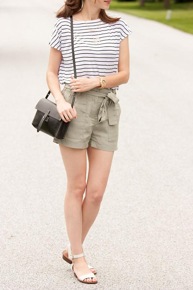 Striped Tee, Gap Tie Shorts, Madewell Bag