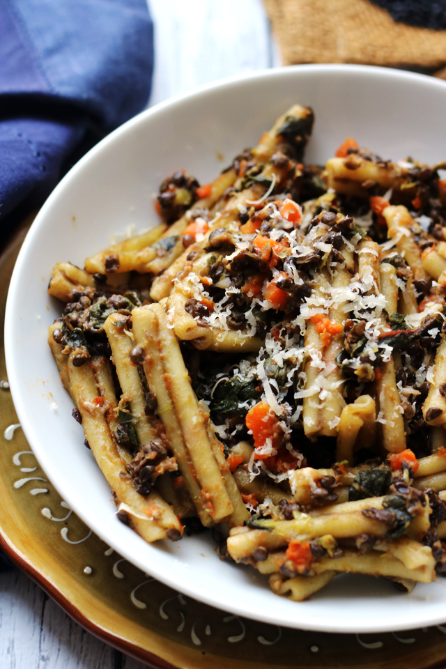 Hearty Pasta with Black Lentil, Carrot, and Chard Ragout