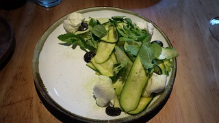 Mozarella, Zucchini, Mint and Pea Salad with Current Puree at Transformer