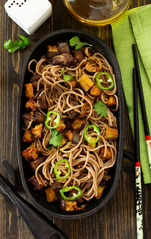 Buckwheat soba noodles with beef and eggplant. Asian cuisine.