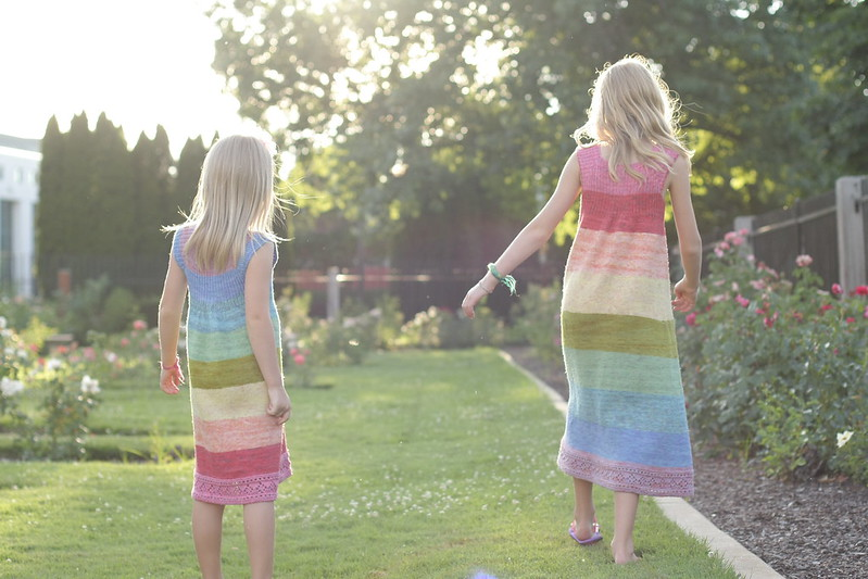 rainbow dresses in the rose garden