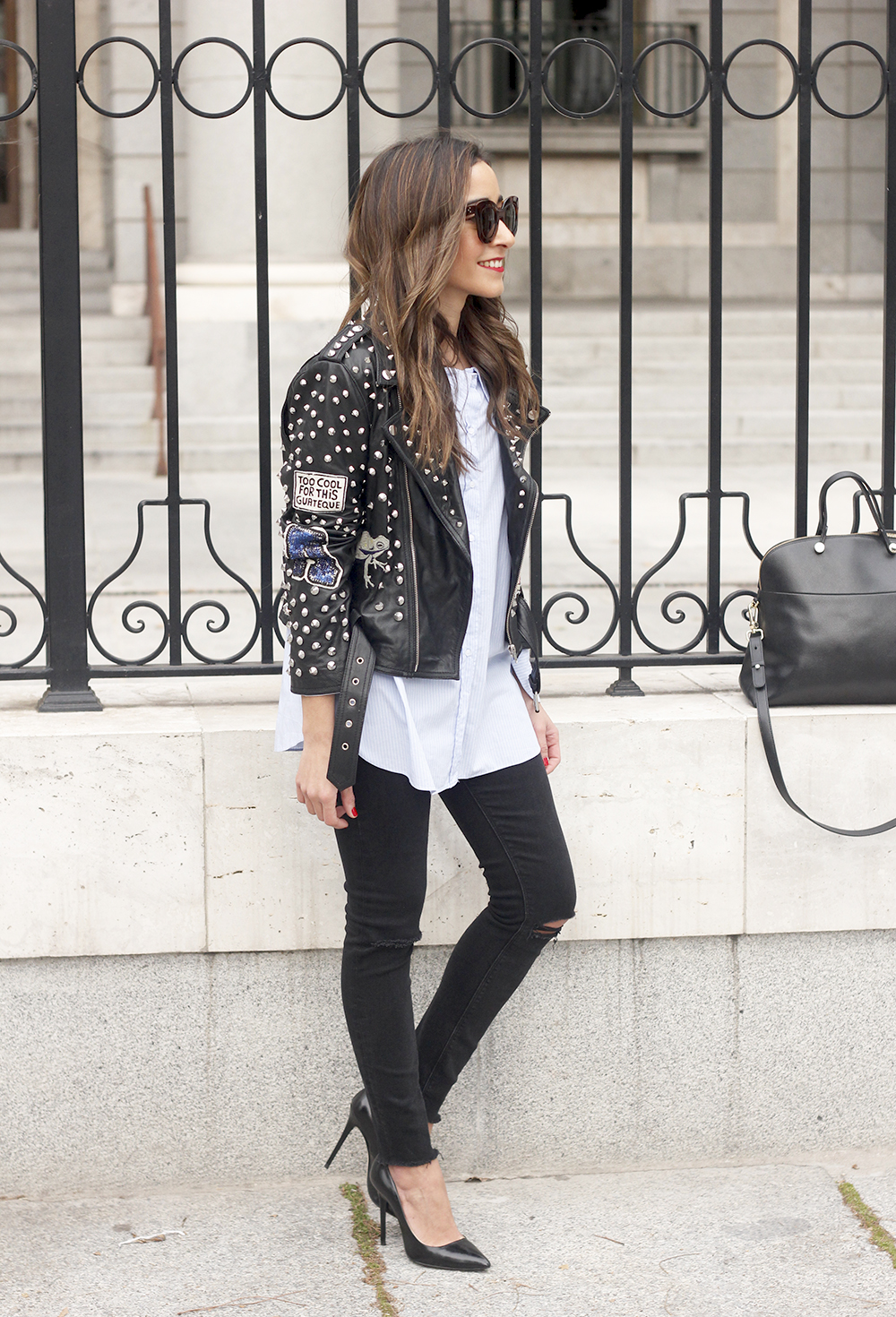 Leather Jacket With Studs And Patches ripped jeans heels furla bag céline sunnies18