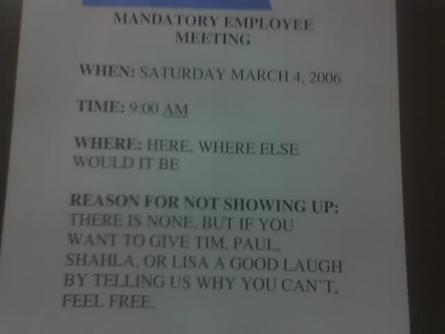 employee meeting sign