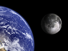 Earth and Moon to scale. | by Bluedharma